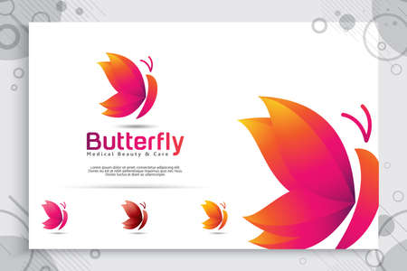 colorful butterfly vector logo design with modern style , illustration abstract of butterfly for digital creative template and beauty medical care company. 矢量图像