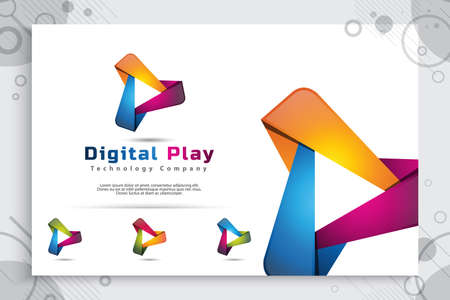 digital Play vector logo with modern 3d design style and modern color style.digital creative illustration of play icon for application mobile phone or Web. 矢量图像