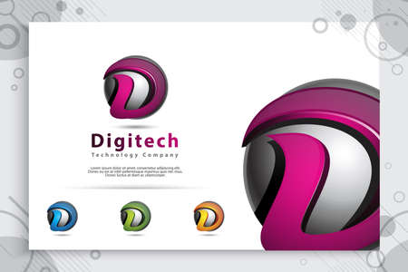 letter D graphic vector logo with modern 3d design style concept.digital creative illustration of 3d Letter D for business and company identity