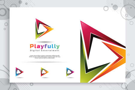 digital Play vector logo with modern 3d design style and modern color style.digital creative illustration of play icon for application mobile phone or Web.