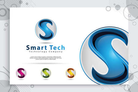3d Letter S logo vector design with modern colorful style. Illustration Of 3d Letter S for technology company.
