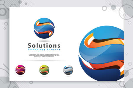 3d letter S logo vector with modern color style , and illustration of colorful digital letter S for technology company