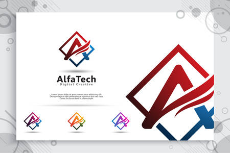 Letter A logo vector design with simple and modern colorful style. Illustration Of letter for bussines technology company.