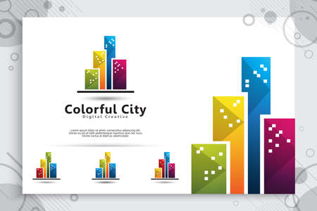 Abstract city building vector logo design with colorful concept , Symbol icon of residential, apartment and city landscape for bussines icon tempalte.