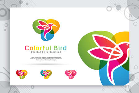 colorful bird vector logo design with modern style , illustration abstract bird for digital creative template