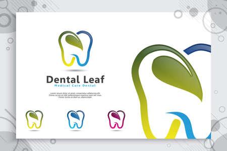 Dental care clinic logo vector design with modern color concept, illustration of digital healthy and medical dentist