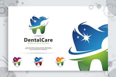 Dental care vector logo design with modern natural concept , symbol illustration creative template with modern color style.