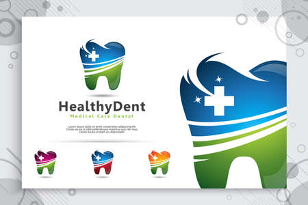 medical care or dental clinic logo design vector for healthy and hospital