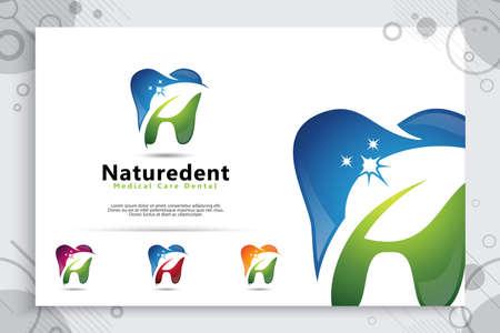natural dental care clinic vector design logo template , illustration digital creative of dental symbol with leaf concept