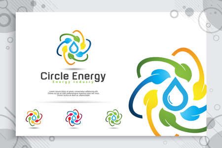 Energy leaf vector logo with a modern circle design concept, illustration of natural leaf recycling for energy renewal and industrial company