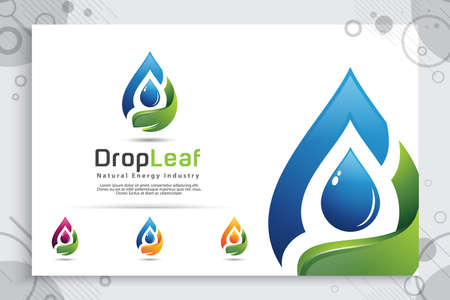 Water drop vector logo design with modern color concept, illustration symbol fresh mineral water for healthy.