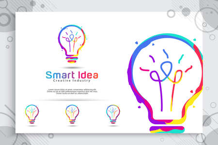 Smart idea vector logo design with colorful concept for education and symbol illustration of intelligence. 矢量图像