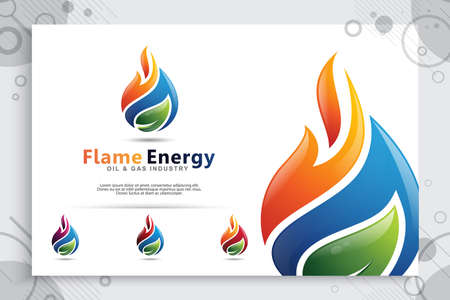 3D vector logo with modern concepts as a symbol of oil and gas. illustration of oil and gas use for template energy and industry company 矢量图像
