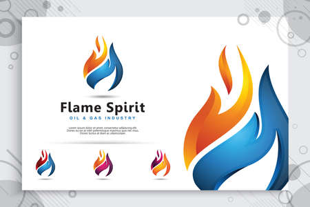 3d flame vector logo designs with modern concept style as a symbol of oil and gas. illustration of oil and gas use for template energy and industry company.