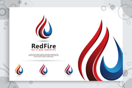 3d fire vector logo with modern concept style used for as a symbol of liquid fuel energy. abstract illustration of fire used for industry fuel energy company.