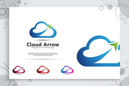 Cloud arrow vector logo with modern and simple concept style, cloud illustration as a symbol of creative digital data service