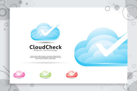 cloud check vector logo design with modern color style, illustration of cloud for data digital service company.