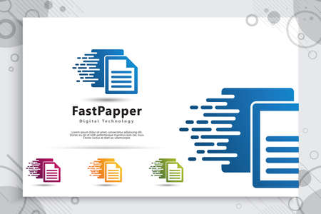 Papper Data Vector logo for technology data service with modern color and style concept, Illustration of papper for cloud template and service data digital web. 矢量图像