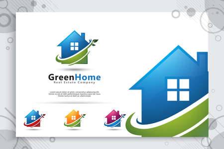 Vector house logos with modern style concepts and colors, natural home illustrations for symbols of environmentally friendly and family friendly housing.