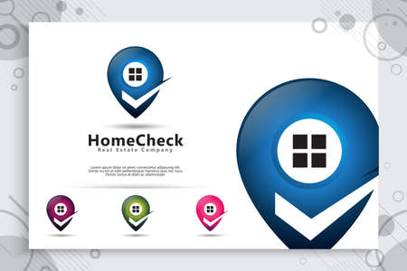 Pin home vector logo with simple and modern style concept , pin house illustration for symbol icon or template application digital on phone.