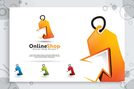 online shop ticket vector logo with modern and simple style concept for application mobile phone, illustration of ticket Sales for symbol of online shop service