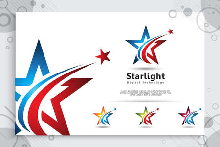 3D star vector logo with a modern and simple color style concept. star illustration as a symbol of business icon and corporate identity template.