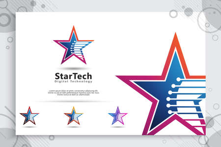 3D star tech vector logo with a modern and simple color style concept. star illustration as a symbol of business icon and corporate identity digital template. 矢量图像