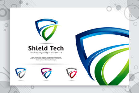 3d shield tech vector logo design with modern concept , abstract illustration symbol of cyber security  for digital template protection software company. 矢量图像