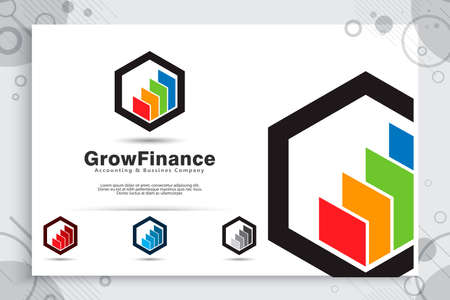 Growth chart vector logo as a symbol of accounting with modern concept , illustration of growth chart bar use for icon template growing finance company 矢量图像