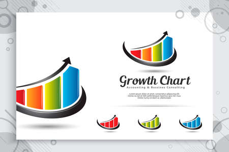 Growth chart vector logo as a symbol of accounting with modern concept , illustration of arrow and chart bar use for icon template growing business company 矢量图像