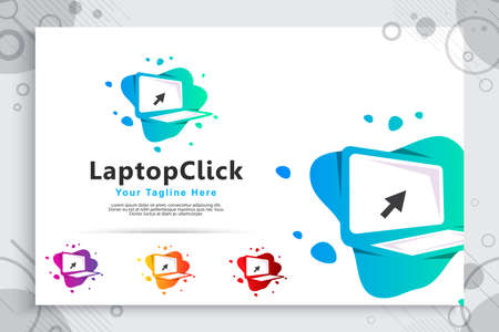 computer tech vector logo with modern designs , abstract illustration laptop and click icon as a symbol of digital template technology and computer corporate
