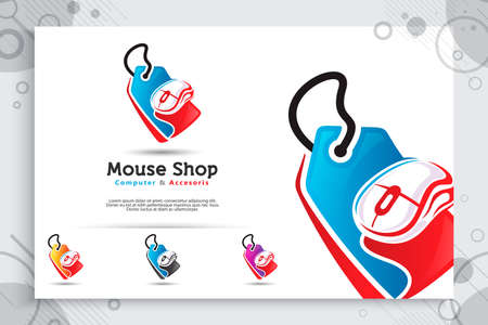 Modern concept mouse shop vector logo , illustration designs price tag and mouse as a symbol of hardware computer shop, use for icon template digital in company