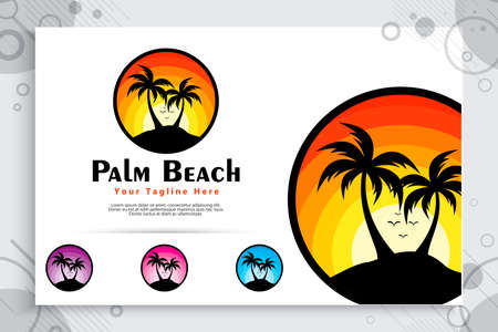 silhouette palm beach vector logo with simple concept style , sunset and coconut tree can use for icon digital template of Beach, resort, travel agency company