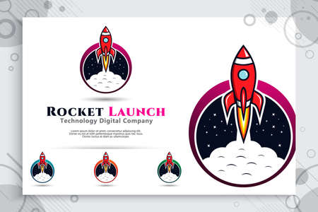 rocket launch vector logo with circle and simple concept designs , illustration of rocket icon can use for digital template symbol of business company