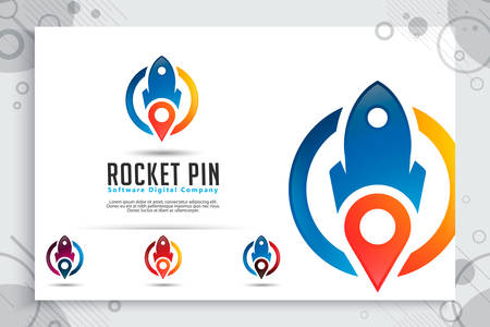rocket pin vector logo with simple concept , illustration rocket and pin map use for icon or symbol of software mobile or template application gps company