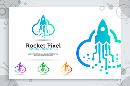 rocket pixel cloud vector logo with simple and colorful concept, illustration rocket cloud, and pixel as a symbol icon of software technology digital template