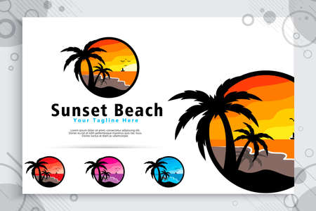 sunset vector logo with simple concept designs , silhouette illustration of coconut tree can use for symbol icon resort beach or beautiful sunset beach template