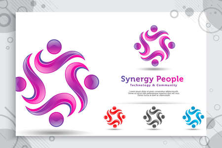 abstract illustration synergy people crowd vector logo with colorful and modern style concept as a symbol icon template of social , community , and family