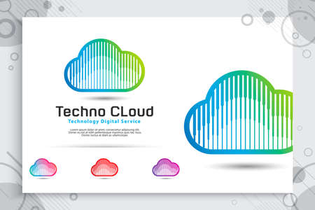 Cloud Data Vector logo for technology data service with modern color and style concept, Illustration of cloud for software template and service data digital web