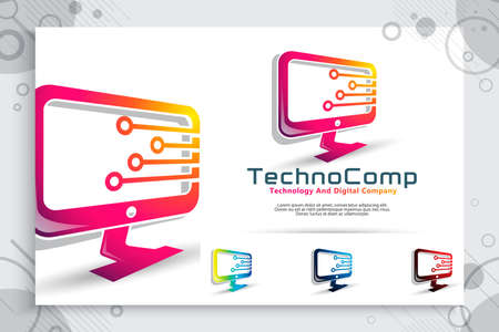 computer technology vector logo with modern designs , abstract illustration monitor and circuit technology as a symbol icon of digital template computer tech
