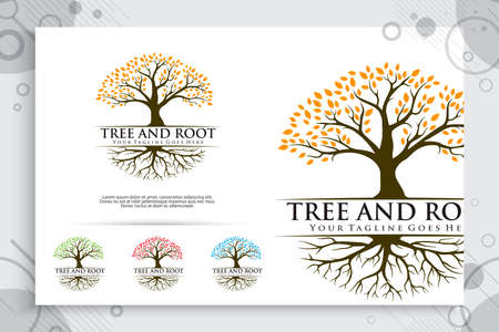 tree roots vector logo designs with vintage style concept , illustration natural tree roots as a symbol icon of environment friendly life 矢量图像