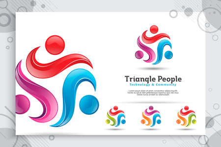 triangle abstract illustration synergy people crowd vector logo with colorful and modern concept as a symbol icon template of social , community , and family 矢量图像