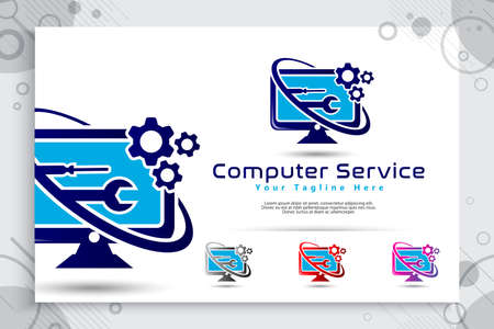 Computer service vector logo with simple concept designs, illustration of monitor , cog , and wrench as a symbol icon of digital template computer service shop
