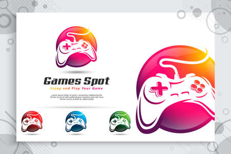 colorful game spot vector logo with modern style concept ,  illustration of joystick circle as a symbol icon of game spot use for template digital in corporate