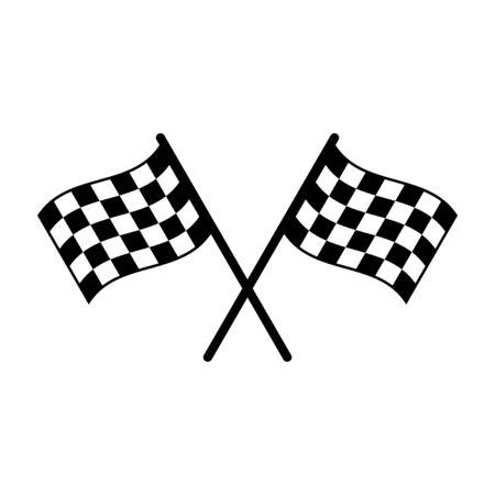Icône de démarrage isolé sur fond blanc. Icône de drapeau de course. Icône de vecteur de ligne de drapeau de sport de compétition. Drapeau de course. Drapeau d'arrivée de départ