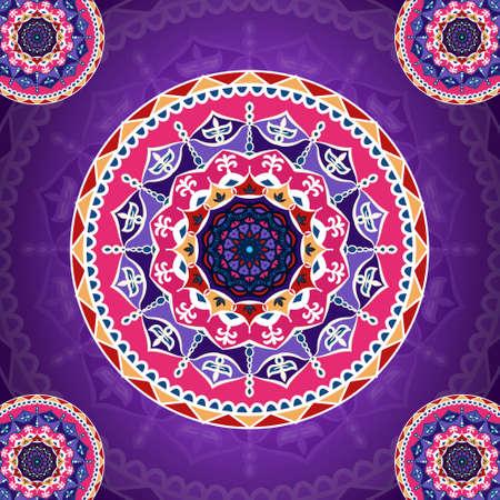 Mandala pattern on purple fancy design background for card, poster, brochure, flyer, invitation etc.