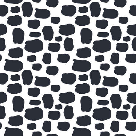 Seamless pattern dalmation and cow skin in black and white background. Animal fur skin texture pattern. Camouflage background wallpaper. Fabric and textile print Illustration