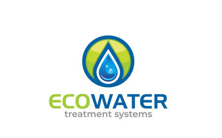 Illustration green energy concept eco water logo design vector template.