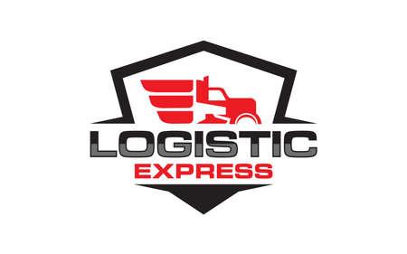 Illustration logistics and delivery company logo design template Logo