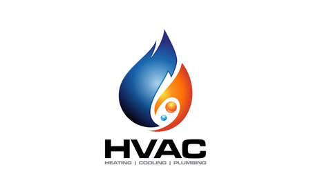 Illustration of Heating and Cooling logo design template